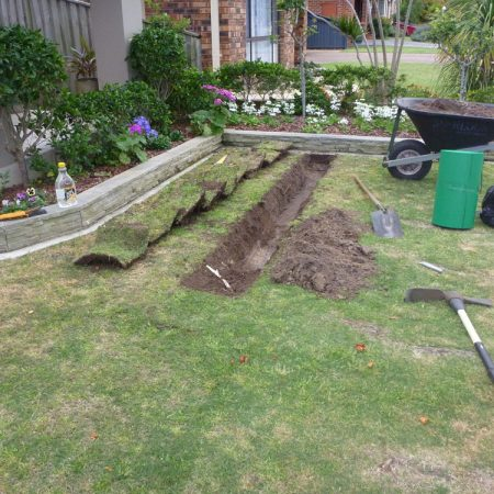 Start of trench for root barrier